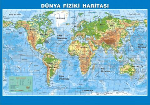 Dünya Fiziki Çıtalı Ders Haritası 70x100cm