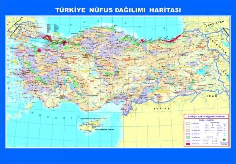 Türkiye Nüfus Dağılımı Çıtalı Ders Haritası 70x100cm